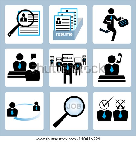 human resource and recruitment icon set
