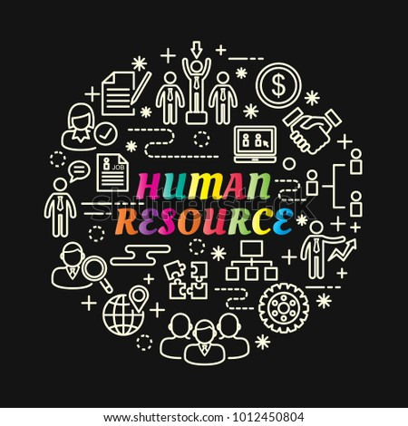 human resource colorful gradient with line icons set, vector editable stroke