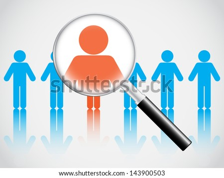 Human resource concept, magnifying glass searching people