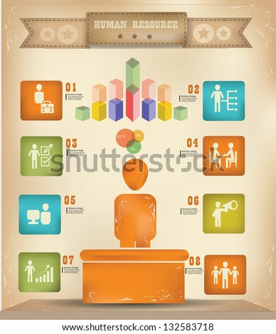 Human resource graphics design,vintage,vector