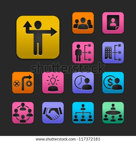 human resource management icon set gummy theme - stock vector