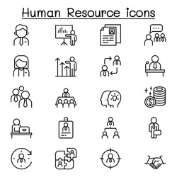 Human resource management icon set in thin line style