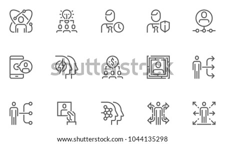 Human Resource Management Vector Flat Line Icons Set. Team Structure, Personal Quality, Professional Growth, Staff Recruitment. Editable Stroke. 48x48 Pixel Perfect.