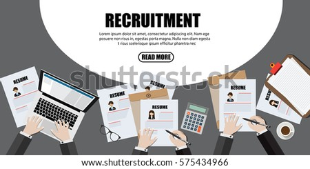 Human resource or HR management info graphic element and background. recruitment process.Flat designed vector illustration.