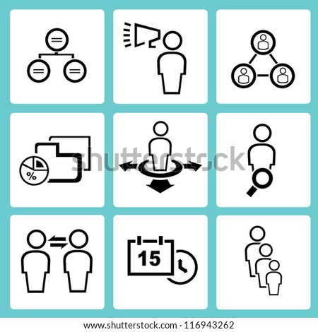human resource, organization, business management icon set, simple line