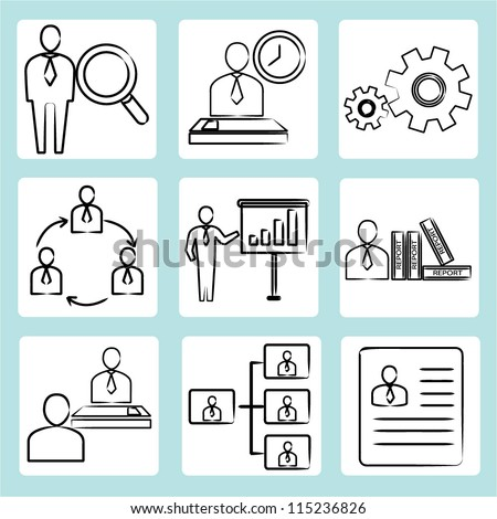 human resource, organization management sketch icon, business icon set