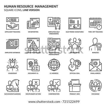 Human resource square icon set. The illustrations are a vector, editable stroke, thirty-two by thirty-two matrix grid, pixel perfect files. Crafted with precision and eye for quality.