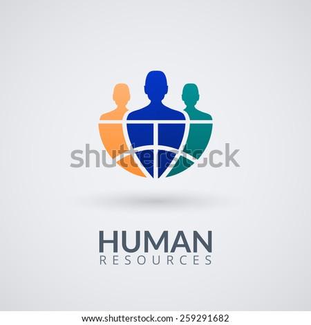 Human resource vector concept logo. Vector Illustration.