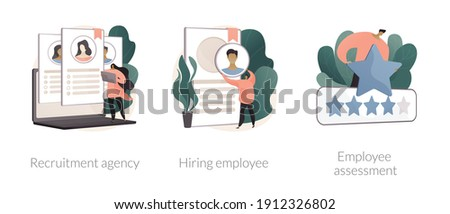 Human resources abstract concept vector illustration set. Recruitment agency, hiring employee, employee assessment, job listing, head hunting, performance review, SWOT analysis abstract metaphor. Foto stock ©