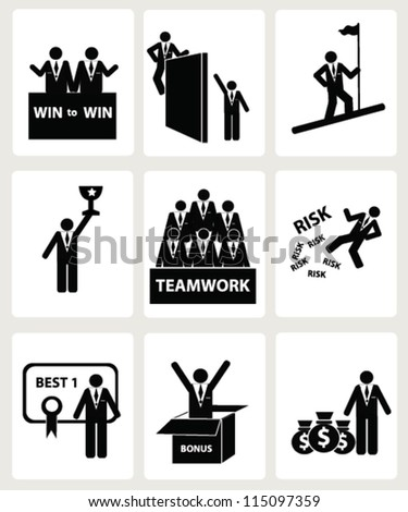 Human resources and management,icon set,Vector