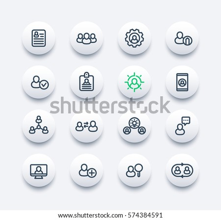 Human resources and management line icons set, personnel, HR, staff rotation, interaction, resume, hiring vector pictograms