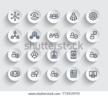 Human resources and personnel management, HR, staff rotation, coaching, hiring line icons set