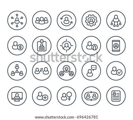 Human resources and personnel management line icons on white, HR, staff rotation, interaction, coaching, hiring