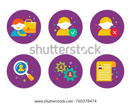 Human resources and recruitment vector icons