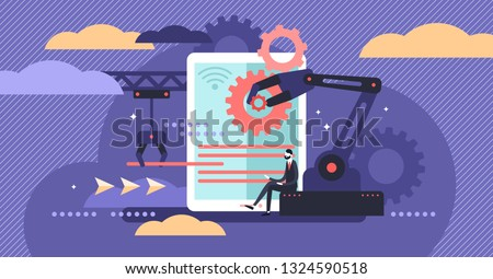Human resources automation vector illustration. Flat tiny person work concept. 21st century challenge - workforce employment social crisis. Digital era algorithm artificial intelligence domination.