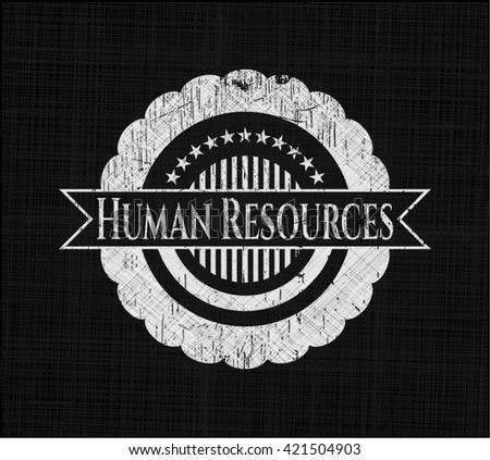 Human Resources chalk emblem written on a blackboard