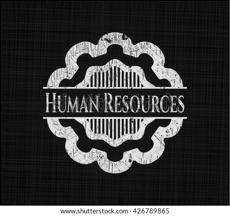 Human Resources chalkboard emblem written on a blackboard