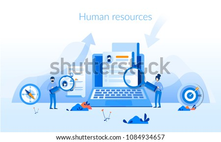 Human resources Concept for web page, banner, presentation, social media, documents, cards, posters. Vector illustration