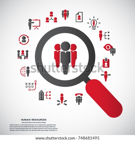 Human resources - conceptual background with human resource related icon set.