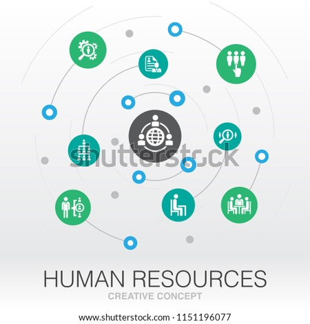 Human Resources creative system concept. Digital mesh grid concept idea. hr manager, hr department, outsourcing, hr strategy, resume UI icons