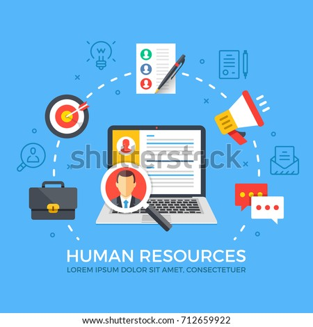 Human resources flat illustration concept. Laptop with magnifying glass. Creative flat icons set, thin line icons set, modern elements for web banners, websites, infographics. Vector illustration