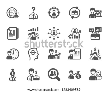Human Resources, head hunting icons. Business networking contract, Job Interview and Head Hunting contract icons. CV, Teamwork and Portfolio symbols. Business career, human, interview. Vector #1283409589