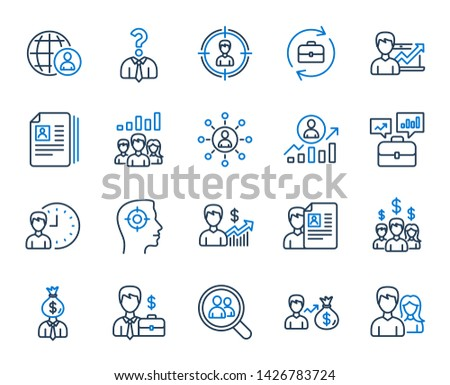 Human Resources, head hunting line icons. Business networking contract, Job Interview and Head Hunting contract icons. CV, Teamwork and Portfolio symbols. Business career, human, interview. Vector