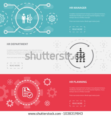 Human Resources 3 horizontal webpage banners template with hr manager, hr department, hr planning concept. Flat modern isolated icons illustration.