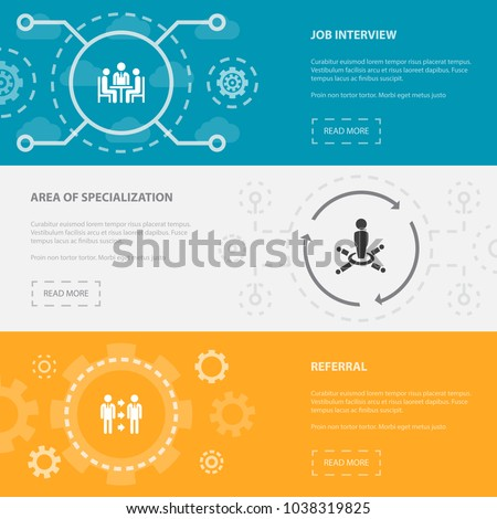 Human Resources 3 horizontal webpage banners template with job interview, area of specialization, referral concept. Flat modern isolated icons illustration.