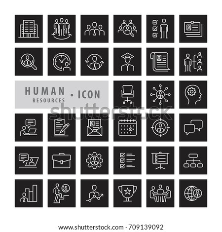Human Resources icons set, career job and interview objects and elements. Flat line icons modern design style