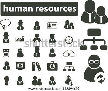 human resources icons set, vector