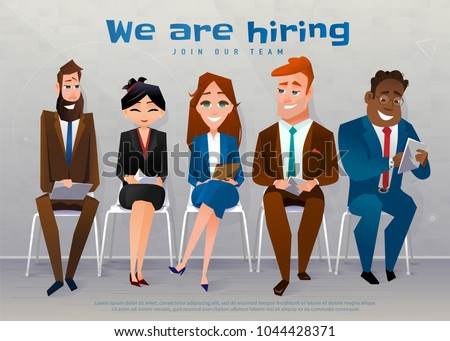 Human resources interview recruitment job concept. We are hiring text. People sitting on the chairs nears the wall, at the office. Vector illustration