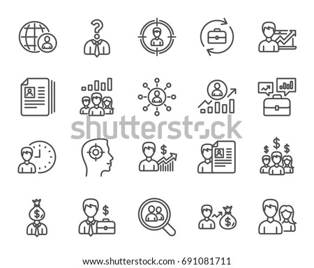Human Resources line icons. Set of Business Networking, Job Interview and Head Hunting signs. CV, Teamwork and Portfolio symbols. Quality design elements. Editable stroke. Vector #691081711