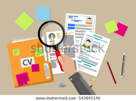 Shutterstock Human resources management concept, searching professional staff, work, analyzing resume, documents papers, hand with magnifying glass, sticky notes, pen. vector illustration in flat design