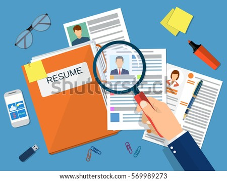 Human resources management concept, searching professional staff, work, analyzing resume, folder with documents. vector illustration in flat design
