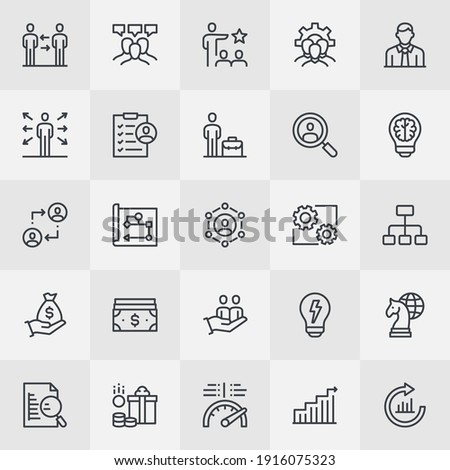 Human Resources Management Outline Icon Collection