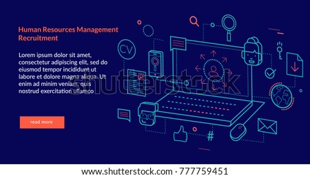Human Resources Management Recruitment Concept for web page, banner, presentation. Vector illustration