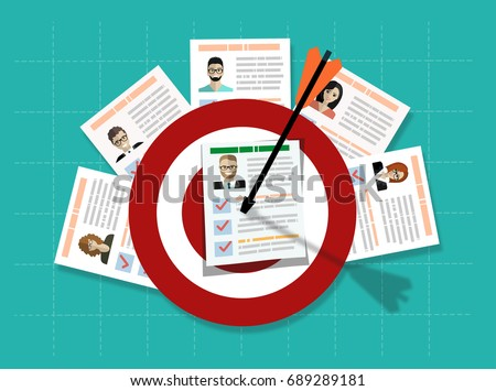 Human resources management select employee. Recruitment, concept of human resources management. CV application. Selecting staff. vector illustration in flat design