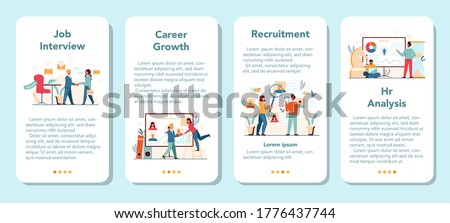 Human resources manager mobile application banner set. Idea of recruitment and job management. Teamwork management. HR manager occupation. Flat vector illustration