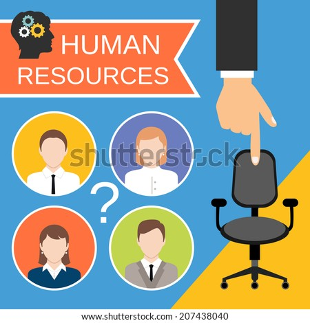 Human resources recruiting planning job business concept with office chair abstract vector illustration