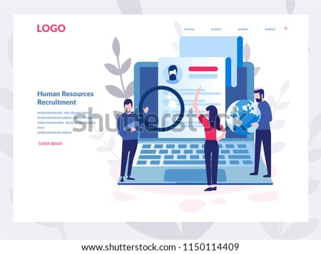 Human Resources, Recruitment Concept for web page, banner, presentation, social media, documents, cards, posters. Vector illustration HR, hiring, application form for employment, Looking for talent