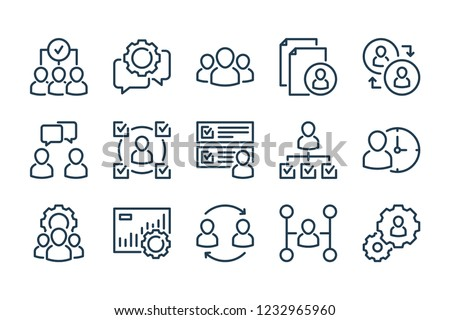 Human resources related line icon set. Recruitment, office management and company structure line vector icons.
