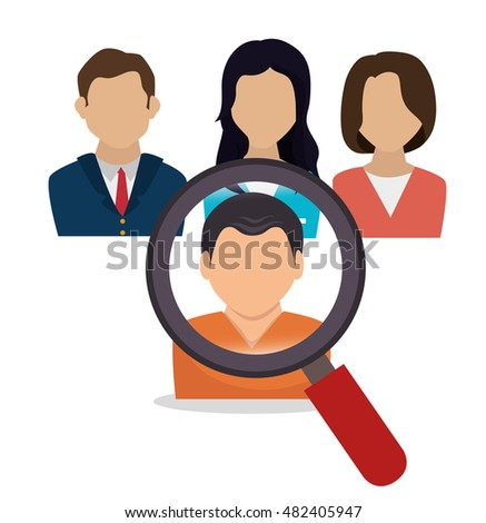human resources search hired design isolated