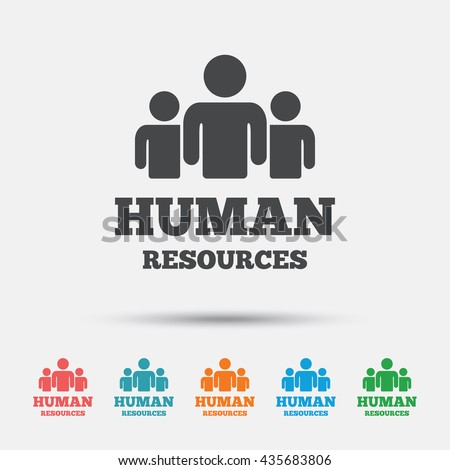 Human resources sign icon. HR symbol. Workforce of business organization. Group of people. Graphic element on white background. Colour clean flat human resources icons. Vector