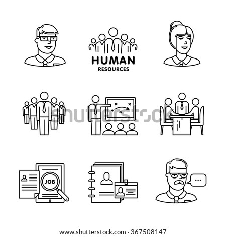 Human resources, team work and building signs set. Thin line art icons. Linear style illustrations isolated on white.