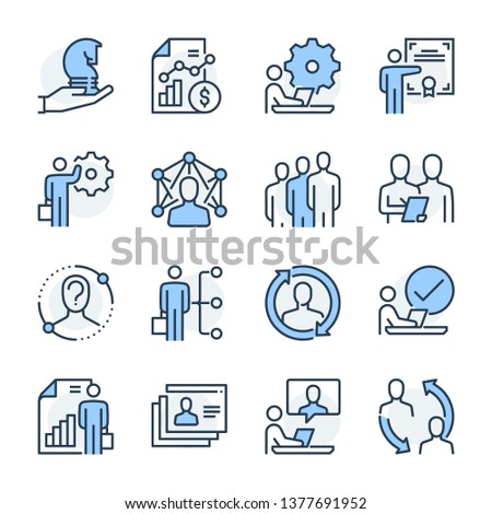 Human resources theme icon set. The set is vector, colored and created on 64x64 grids. Stockfoto ©