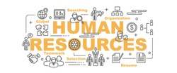 human resources vector banner design concept, flat style with thin line art icons on white background