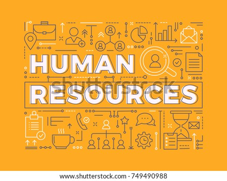 Human Resources. Vector Business Background Concept with outline items. Simple Icons Isolated on orange Background.