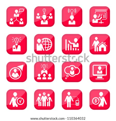 Human Resources Vector Icon Set for web and mobile. All elements are grouped.