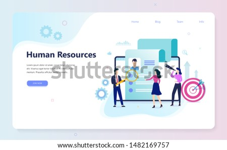 Human resources web banner design concept. Idea of recruitment and job management. Teamwork management. HR manager occupation. Flat vector illustration